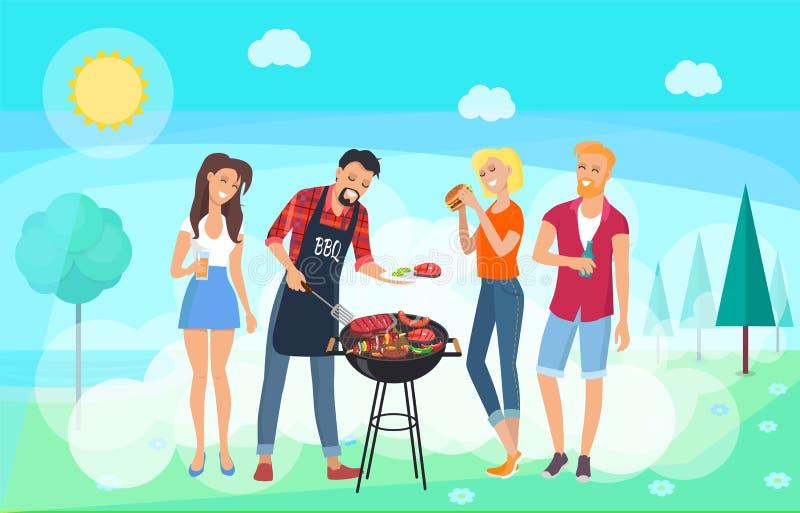 BBQ przyjęcia czas, lato łąka, przyjaciół Spotykać royalty ilustracja
