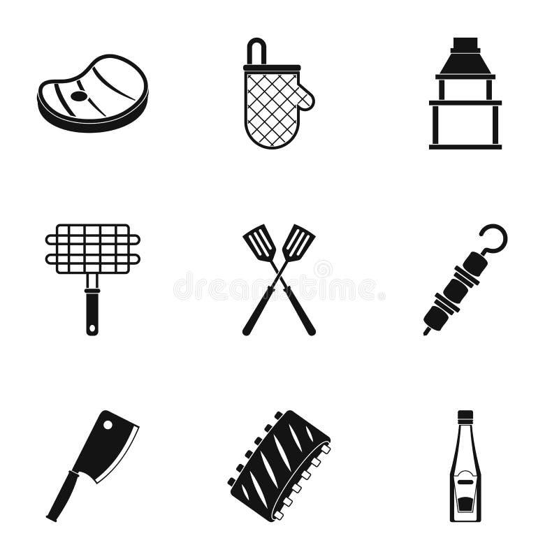 Bbq przyjęcia ikony ustawiać, prosty styl ilustracja wektor