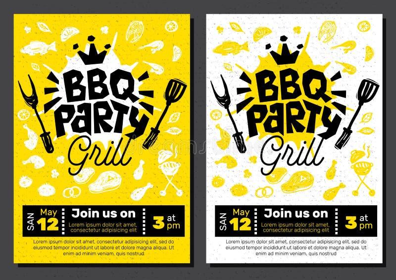 BBQ przyjęcia jedzenia plakat Grilla szablonu menu zaproszenia ulotki d royalty ilustracja