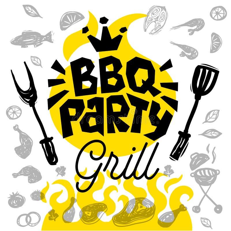 BBQ przyjęcia jedzenia plakat Grilla szablonu menu zaproszenia ulotki d ilustracji
