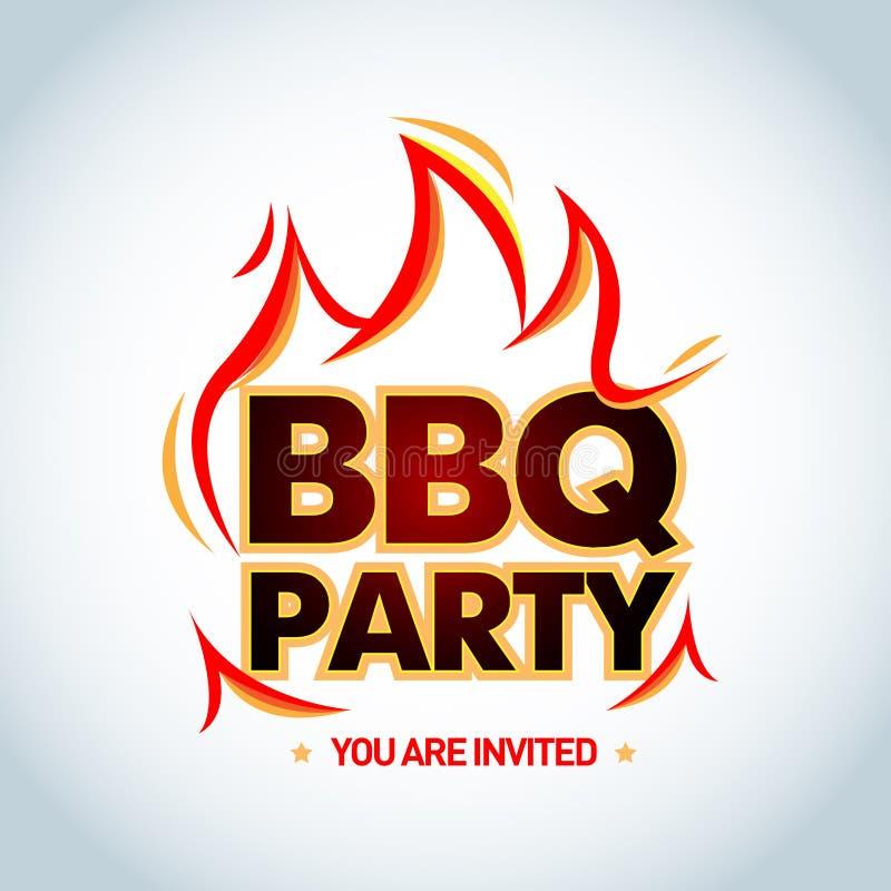 BBQ przyjęcia logotypu szablon z płomieniami Grilla partyjny logo, partyjny zaproszenie szablon Odosobniona wektorowa ilustracja royalty ilustracja