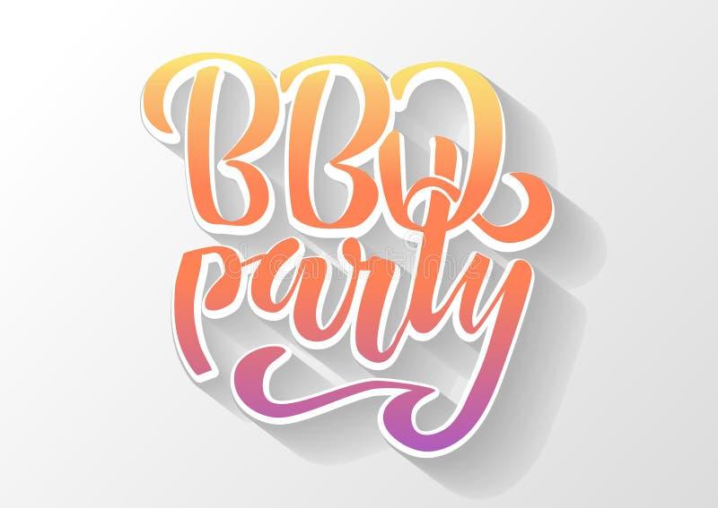 BBQ przyjęcia ręki literowania logo projekta wektorowy szablon Gradientowego grilla teksta typograficzna etykietka odizolowywając royalty ilustracja