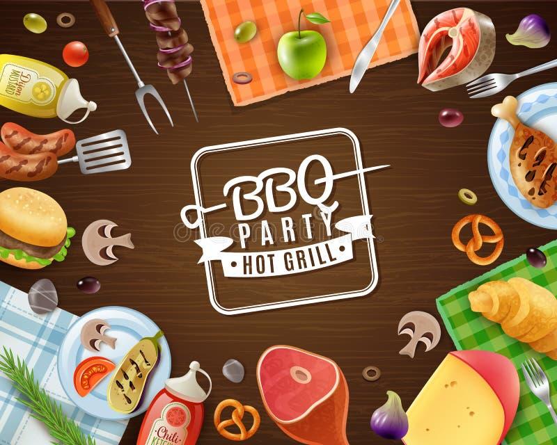 BBQ przyjęcia rama ilustracji
