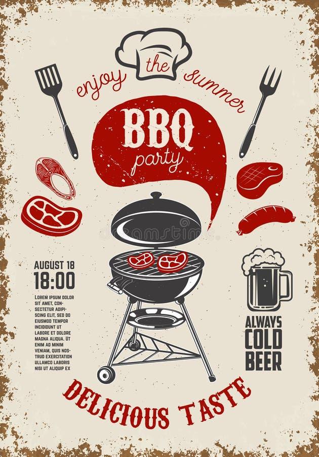 BBQ przyjęcia rocznika ulotka na grunge tle Grill z kuchnią ilustracji