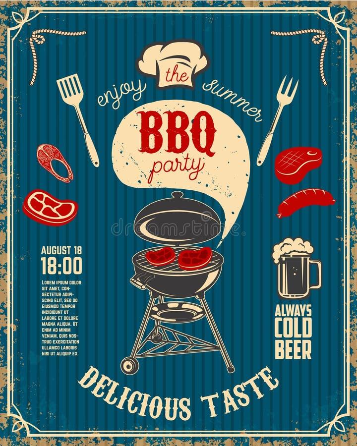 BBQ przyjęcia rocznika ulotka na grunge tle Grill z kuchnią royalty ilustracja