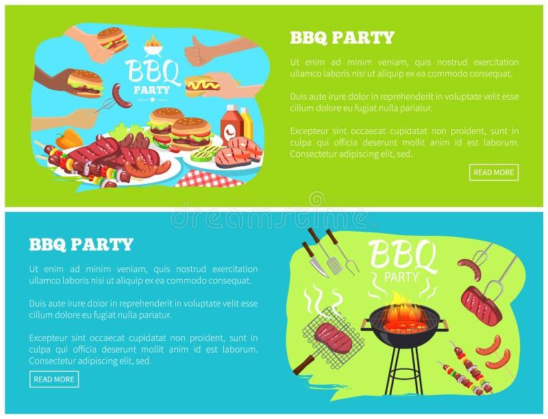 BBQ przyjęcia strony internetowe z teksta wektoru ilustracją ilustracja wektor