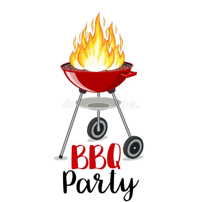 BBQ przyjęcia sztandaru grill z ogieniem royalty ilustracja