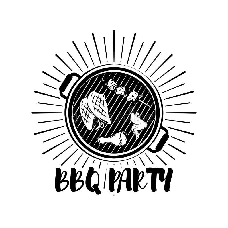 BBQ przyjęcia sztandaru grilla odznaka Wektorowa ilustracja odizolowywająca na bielu ilustracji