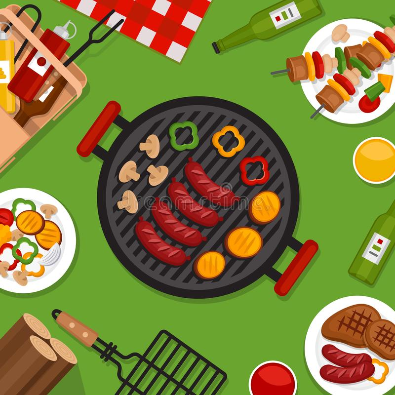 Bbq przyjęcia tło z grillem Grilla plakat Mieszkanie styl, ve ilustracja wektor