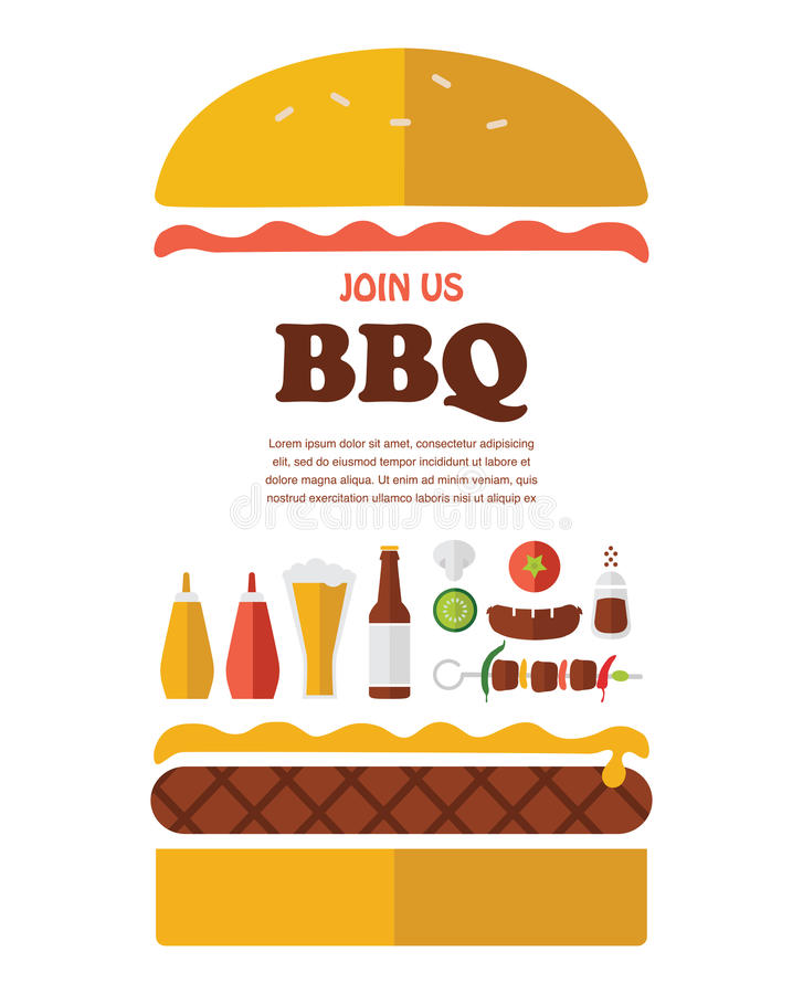 BBQ przyjęcia zaproszenie projektujący jako hamburger ilustracja wektor