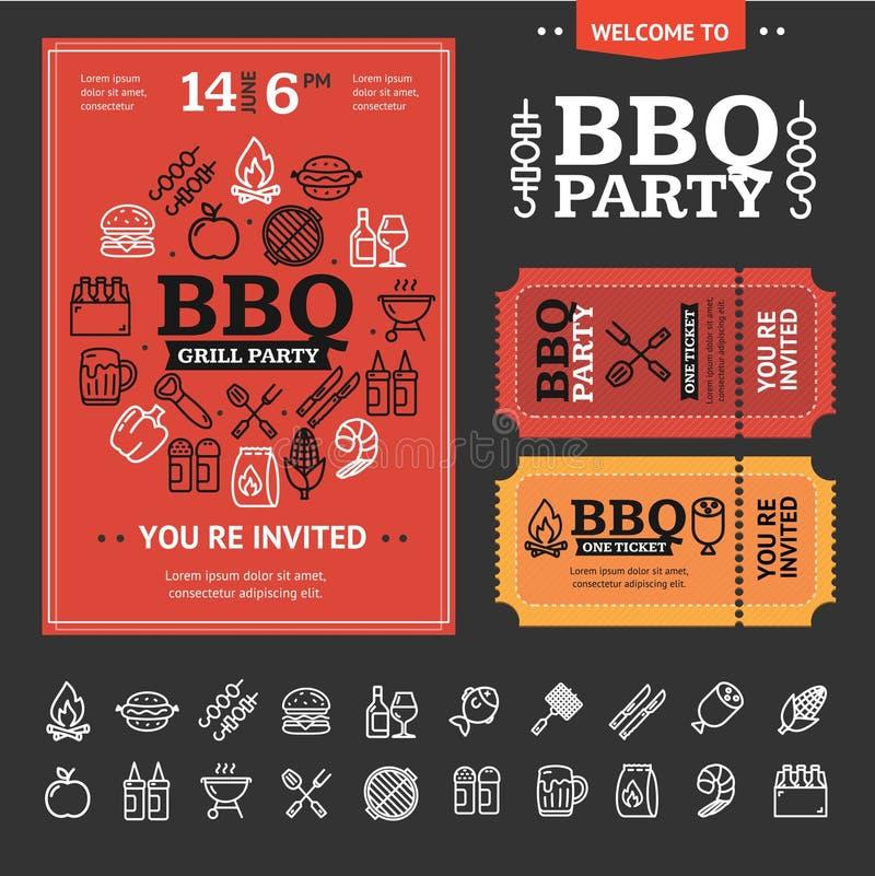Bbq przyjęcia zaproszenie z Cienkim Kreskowym ikona setem wektor ilustracji