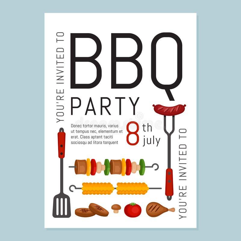 Bbq przyjęcia zaproszenie z grillem i jedzeniem Grilla plakat Jedzenie ilustracji