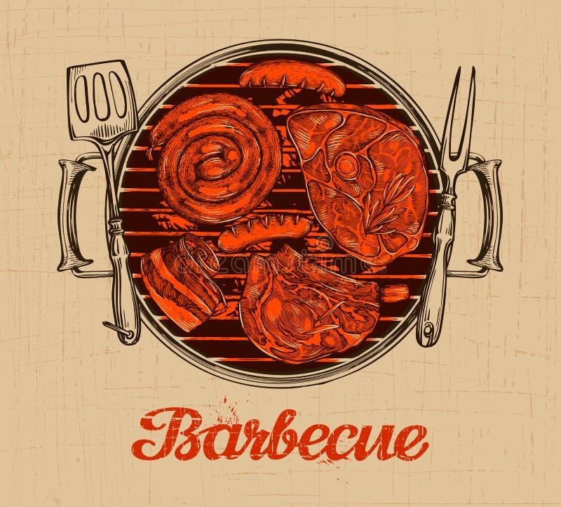 BBQ przyjęcie Grilla wektorowy szablon menu projekta restauracja, kawiarnia royalty ilustracja