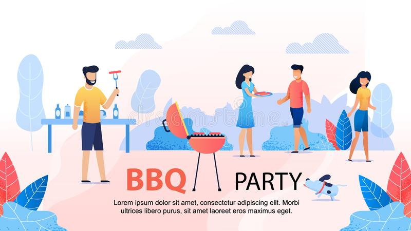 BBQ przyjęcie z przyjaciela Motywacyjnym Płaskim sztandarem ilustracji
