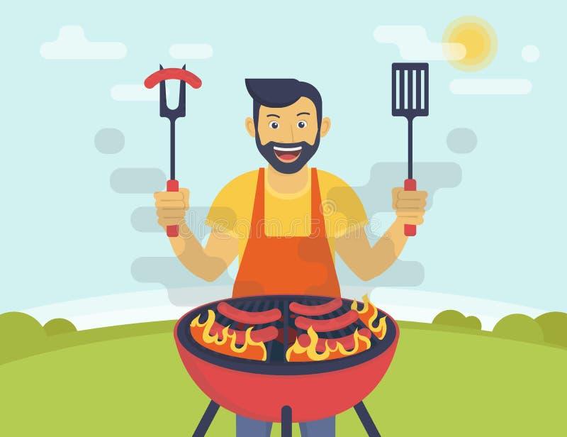 BBQ que cozinha o partido ilustração do vetor