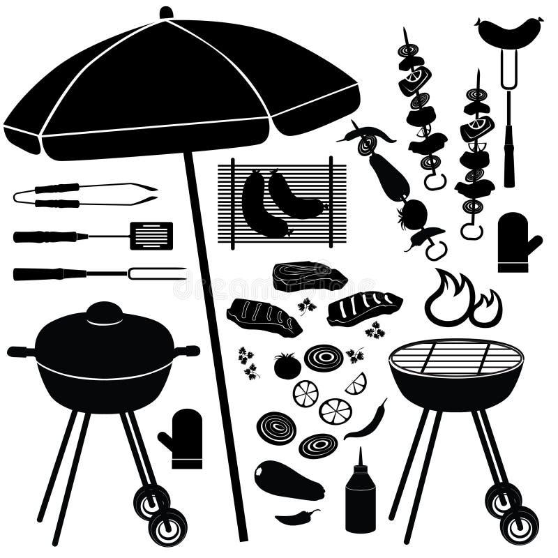 BBQ reeks. De Pictogrammen van de barbecuegrill stock illustratie