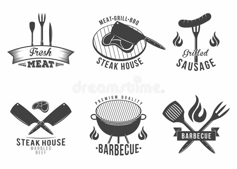 BBQ Reeks van grill en barbecuerestaurantembleem, menuelement, etiket en kenteken stock illustratie