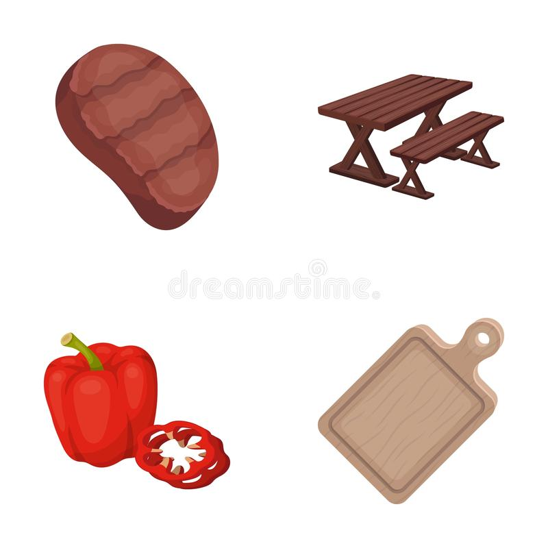 BBQ related icon set. Fried steak, table with a bench for relaxation, sweet pepper, cutting board.BBQ set collection icons in cartoon style vector symbol stock royalty free illustration