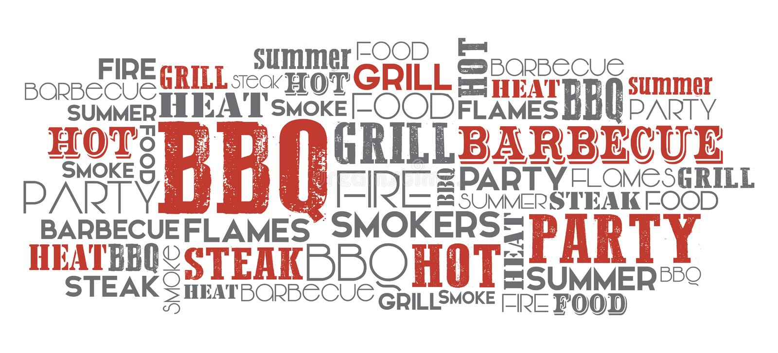 BBQ related word cloud vector. BBQ related word cloud orange and grey vector one layer eps. 10 Text is outlined stock illustration