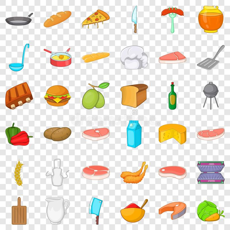 Bbq relaxation icons set, cartoon style. Bbq relaxation icons set. Cartoon style of 36 bbq relaxation vector icons for web for any design royalty free illustration