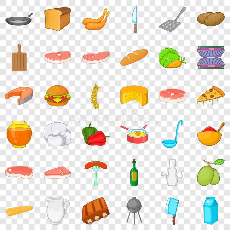 Bbq rest icons set, cartoon style. Bbq rest icons set. Cartoon style of 36 bbq rest vector icons for web for any design royalty free illustration