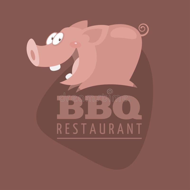 BBQ restauracj emblemata świnia ilustracji