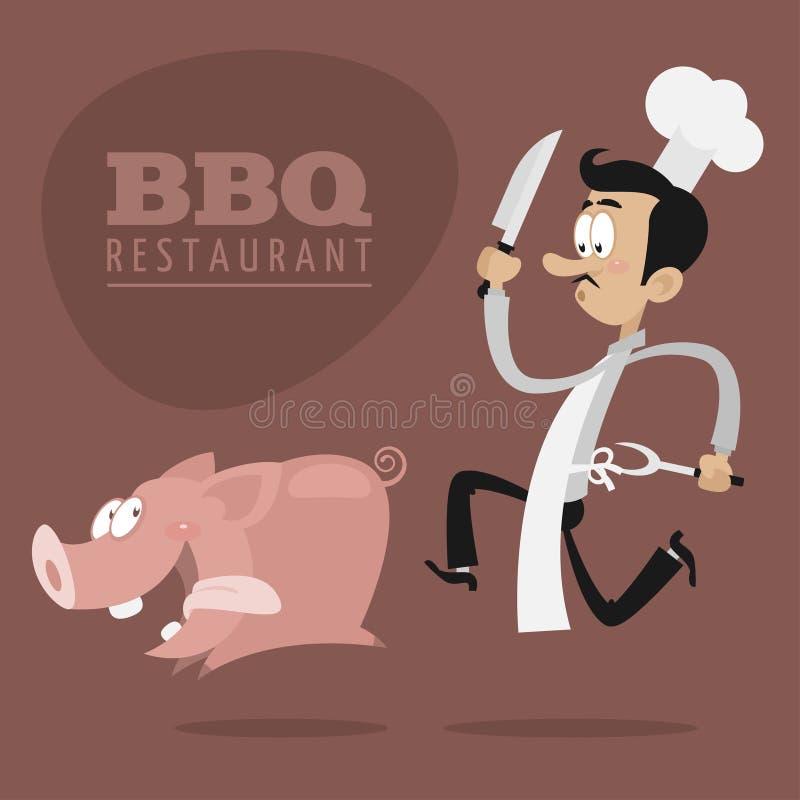 BBQ restauracj pojęcia szef kuchni biega świni ilustracja wektor