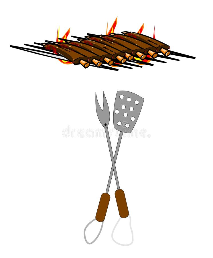 Bbq ribs. Rack of BBQ ribs on a grill with flames in background and cooking utensils vector stock illustration