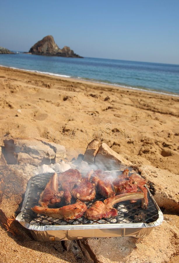 BBQ Ribs on the beach stock photo