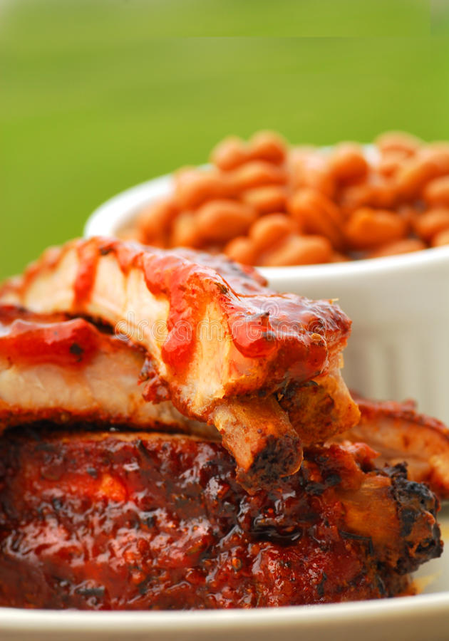 Download BBQ Ribs With Beans And Dipping Sauce Stock Photo - Image: 9613500