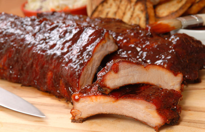 Download BBQ Ribs With Toasted Bread And Cole Slaw Stock Image - Image of meat, dining: 21134003