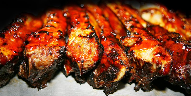 BBQ Ribs up close stock photos