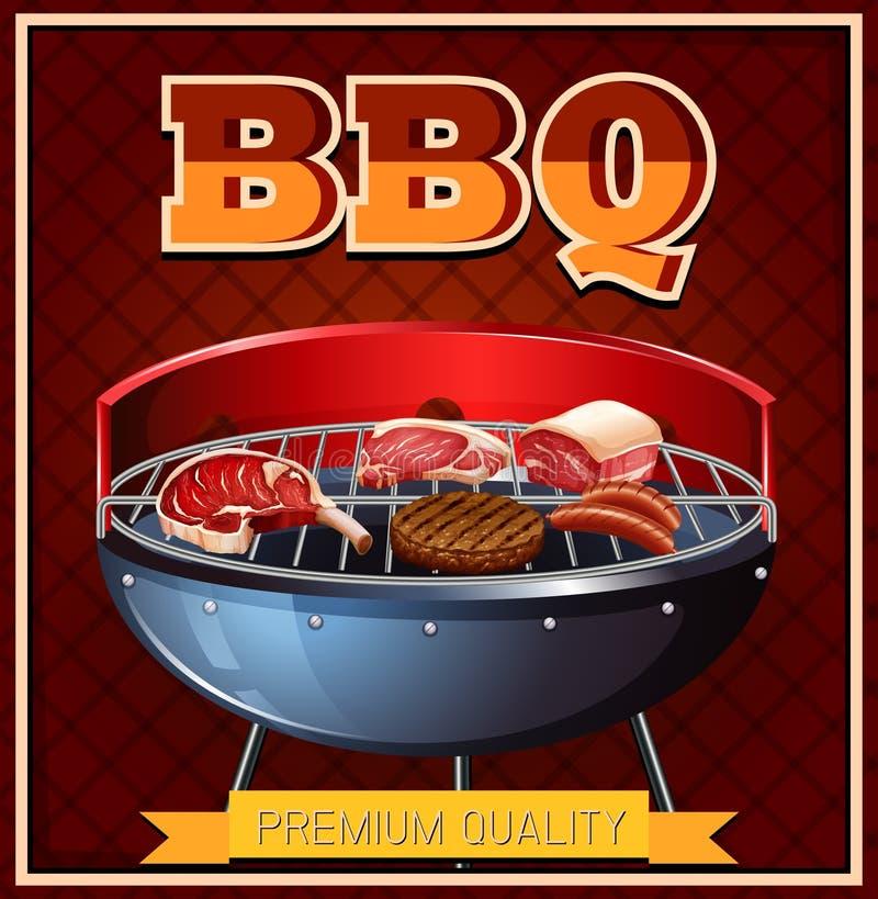 Bbq-Rindfleisch auf Grill lizenzfreie abbildung