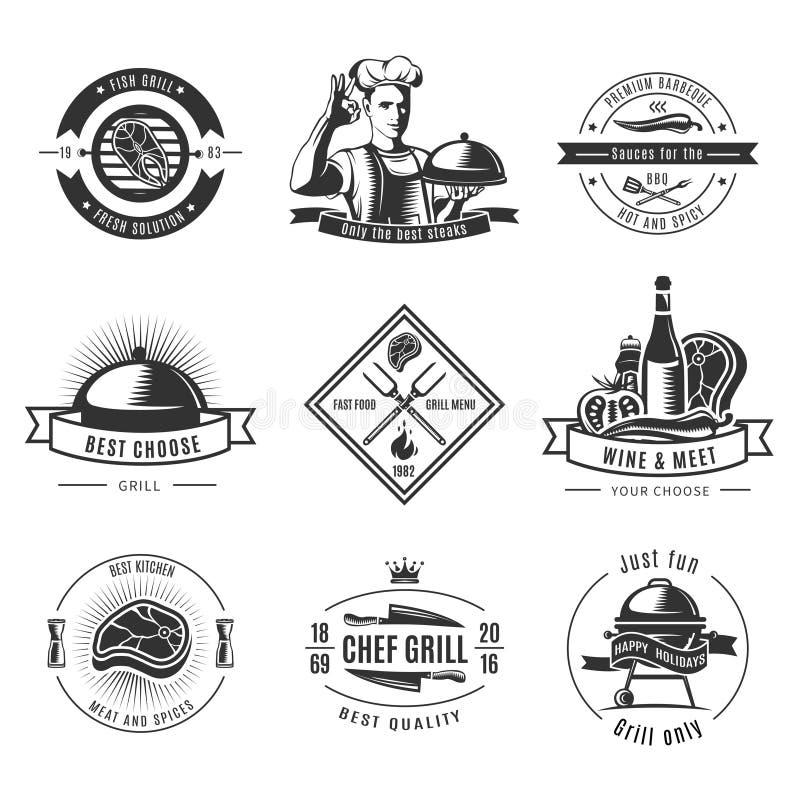 BBQ rocznika etykietki set ilustracji