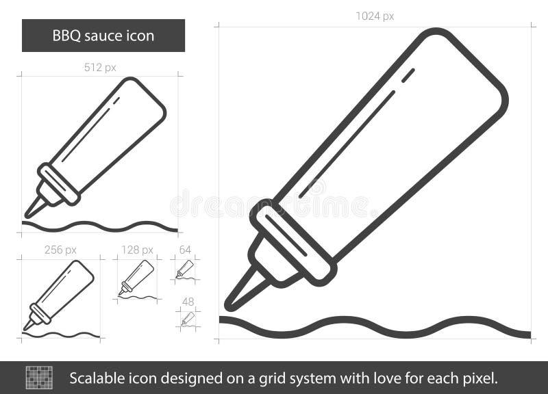 Bbq-såslinje symbol stock illustrationer