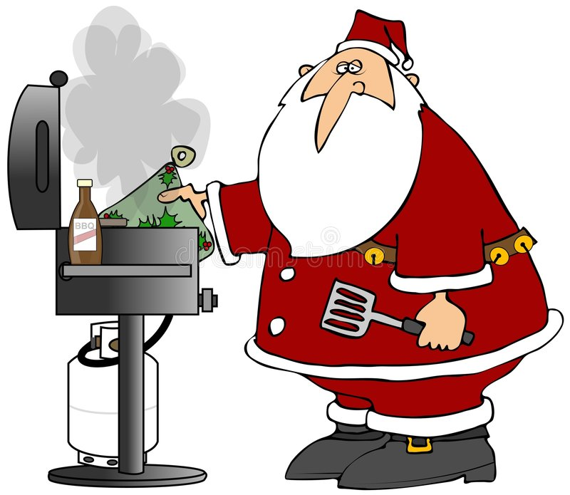 BBQ Santa. This illustration depicts Santa Claus cooking on a barbecue grill