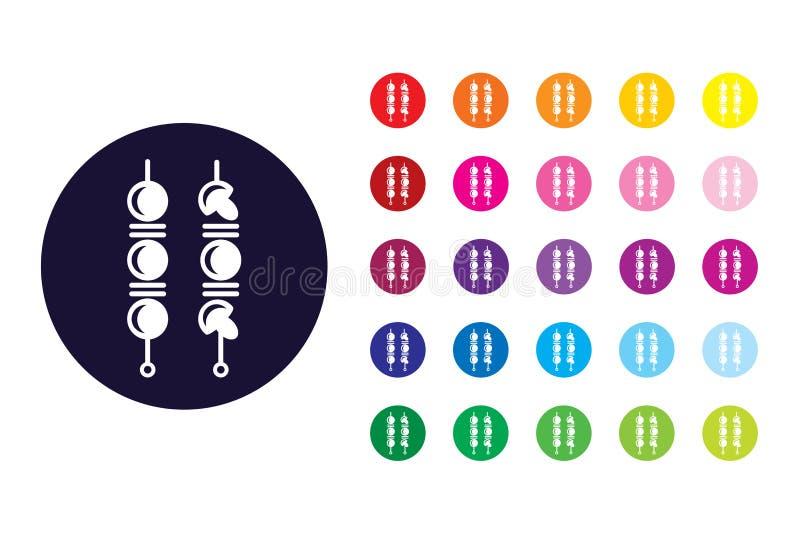 Bbq satay szyldowa ikona Bbq koloru satay symbol ilustracji