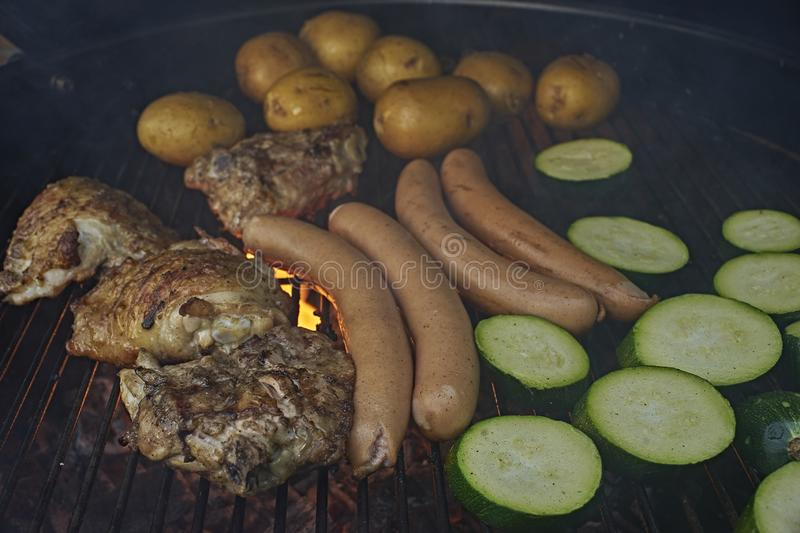 BBQ sausages stock photography