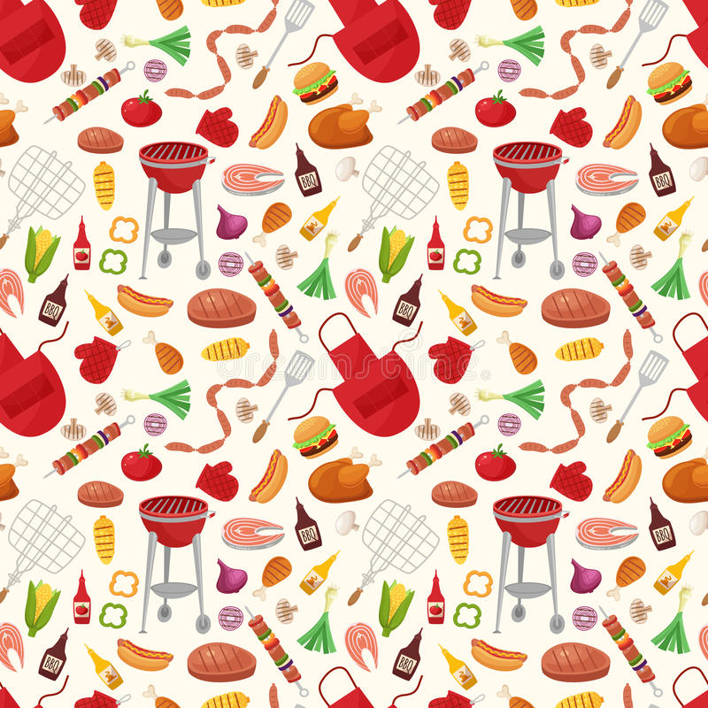 Bbq seamless pattern with grill objects and icons. Cartoon style vector illustration stock illustration