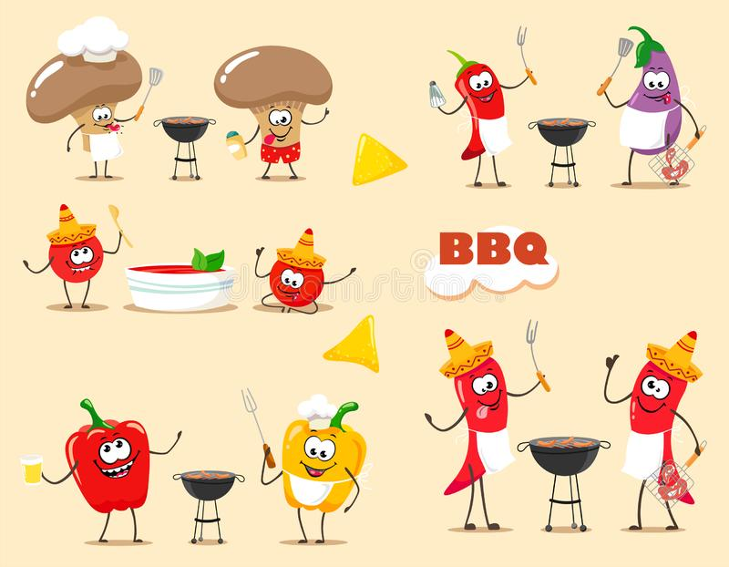 Funny  cartoon vegetables cook barbecue. Vector illustration of a flat style. Funny  cartoon vegetables cook barbecue. Vector illustration stock illustration