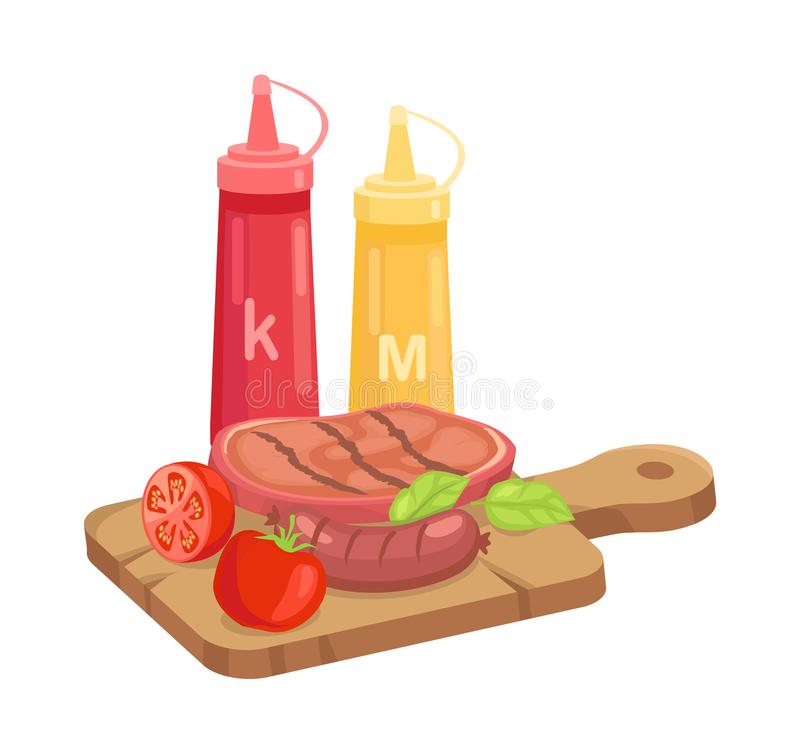 BBQ Set, Hot Course on Plank Cartoon Vector Icon. BBQ set, hot course on plank isolated cartoon vector icon. Grilled steak and sausage with sliced tomato and royalty free illustration