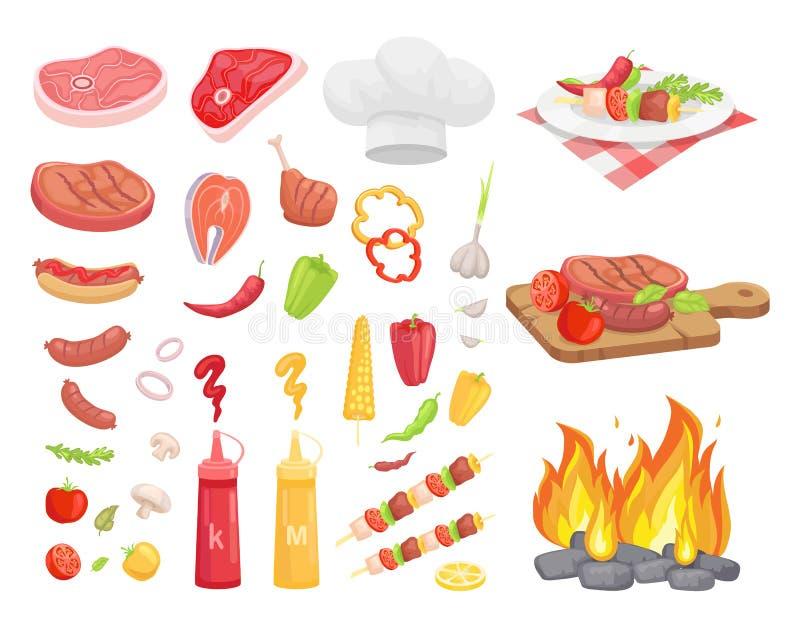 BBQ set, mięso dla grilla i pikantność, Wektorowa ikona ilustracji