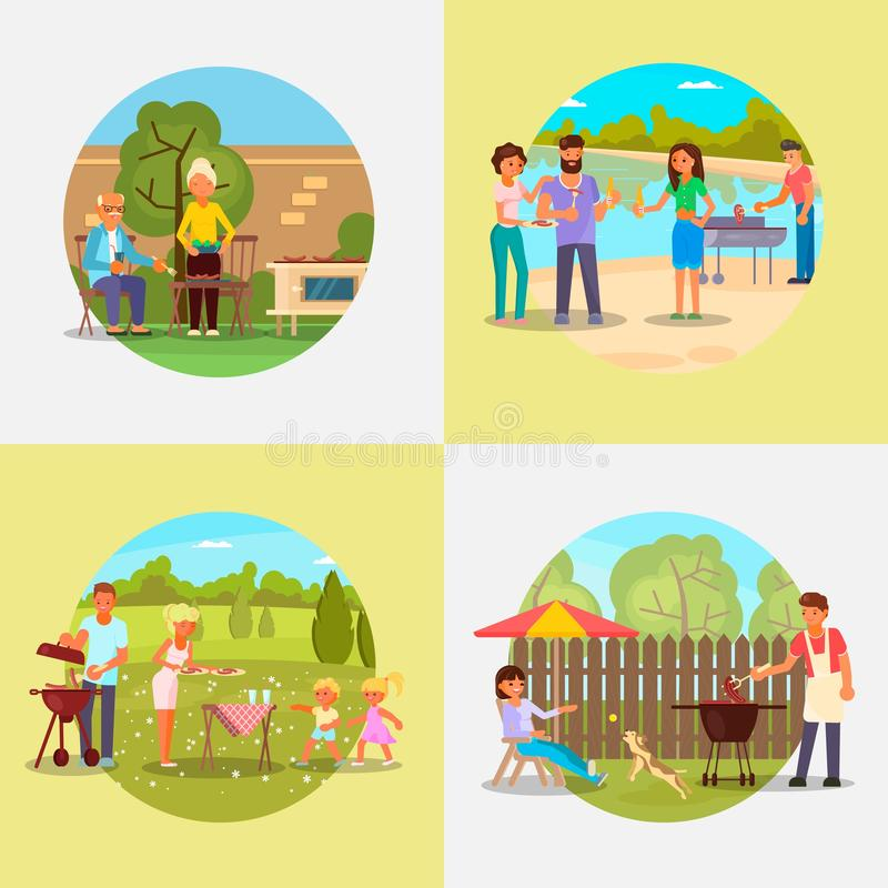 People on bbq party vector flat illustration. Bbq set, vector flat illustration. Picnic with family, friends and pets in park, in backyard. Elderly and young vector illustration
