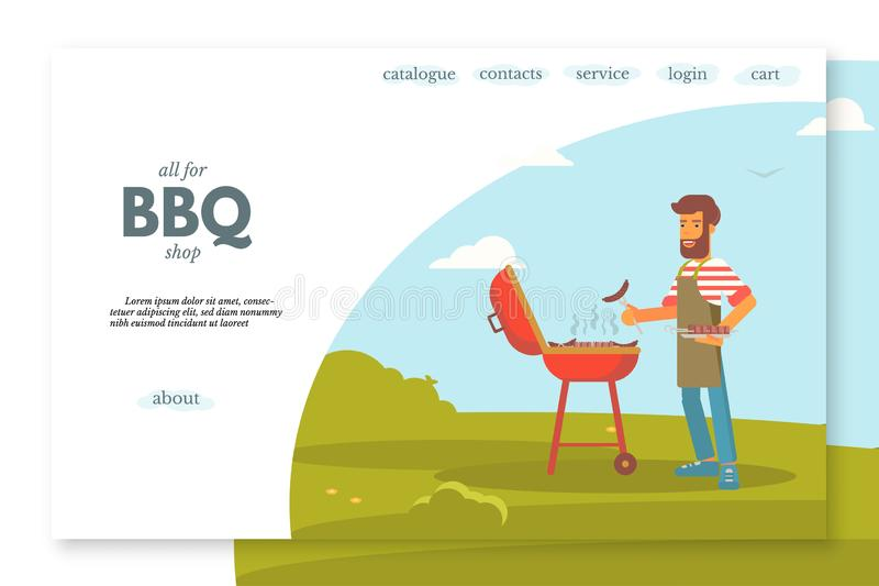 BBQ shop flat landing page vector color template. BBQ shop flat landing page vector template. Outdoor leisure, camping website, webpage. Man grilling sausages royalty free illustration