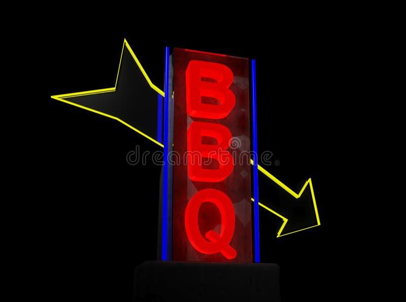 Bbq sign. On black background royalty free illustration