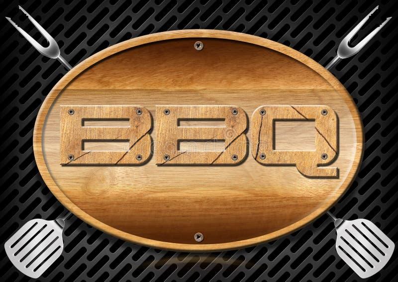 Bbq Signboard z Kuchennymi naczyniami royalty ilustracja