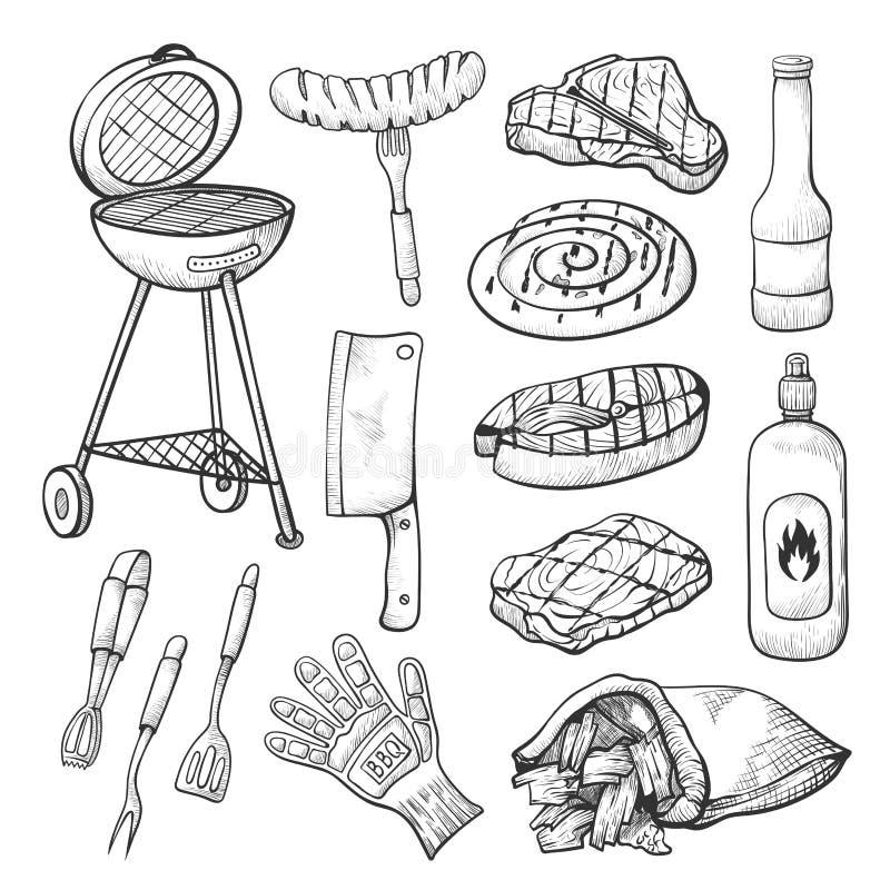 Bbq skissar, ställde in av grillfest- och gallerhjälpmedel royaltyfri illustrationer