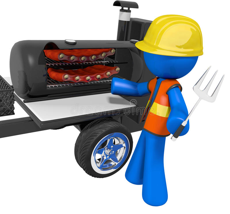 Download BBQ Smoker Mobile Grill Contractor On Break Stock Illustration - Image: 21903043
