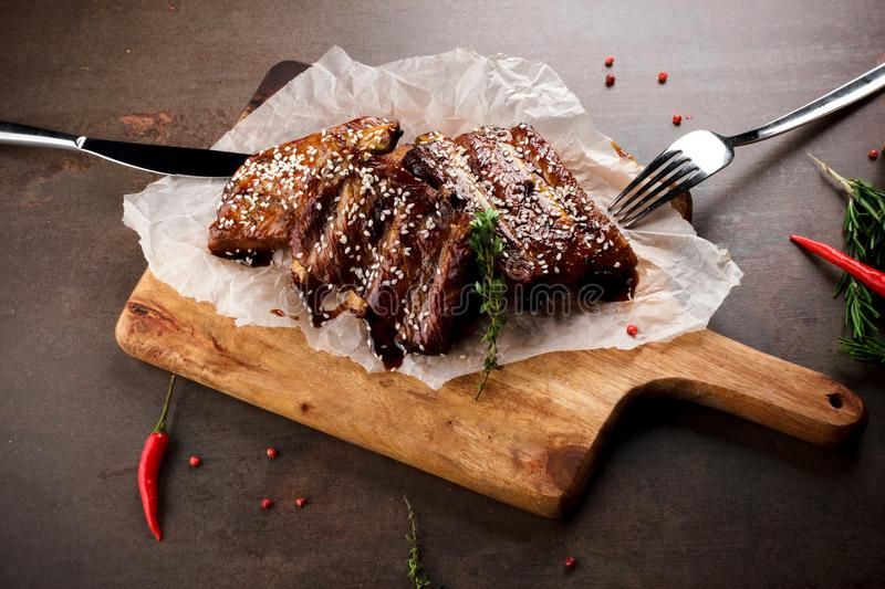 BBQ spare ribs with herbs.  royalty free stock images