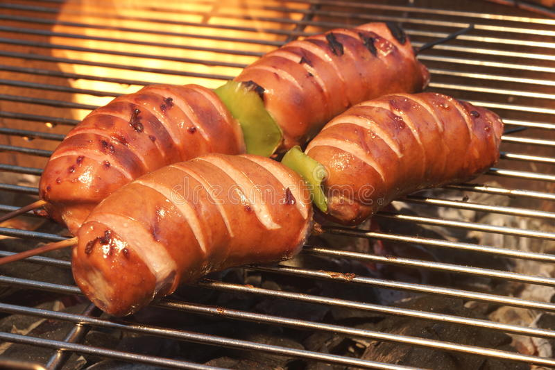 BBQ Spit Roasted Fatty Sausage On The Hot Flaming Grill. BBQ Spit Roasted Fatty Sausage On The Hot Flaming Charcoal Grill, Picnic Concept Scene stock photos